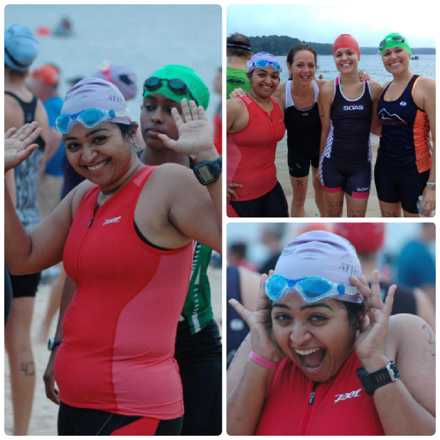 Hamming it up before the swim start