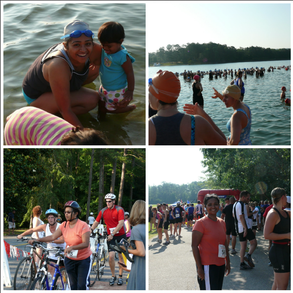From my first triathlon - A regular swimsuit with sports bra for swimming and then a shirt + capri for both bike & run.