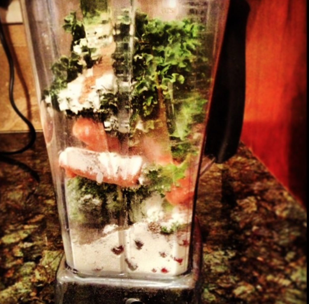 Banana, berries, broccoli, carrots, kale, chia, flax and Vega Sport Recovery Accelerator - ready for my Vitamix.