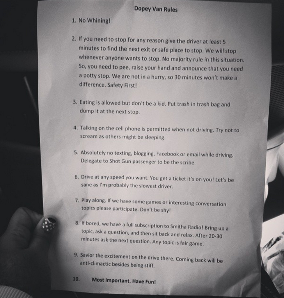 Barry had printed a set of van rules for us as well :D