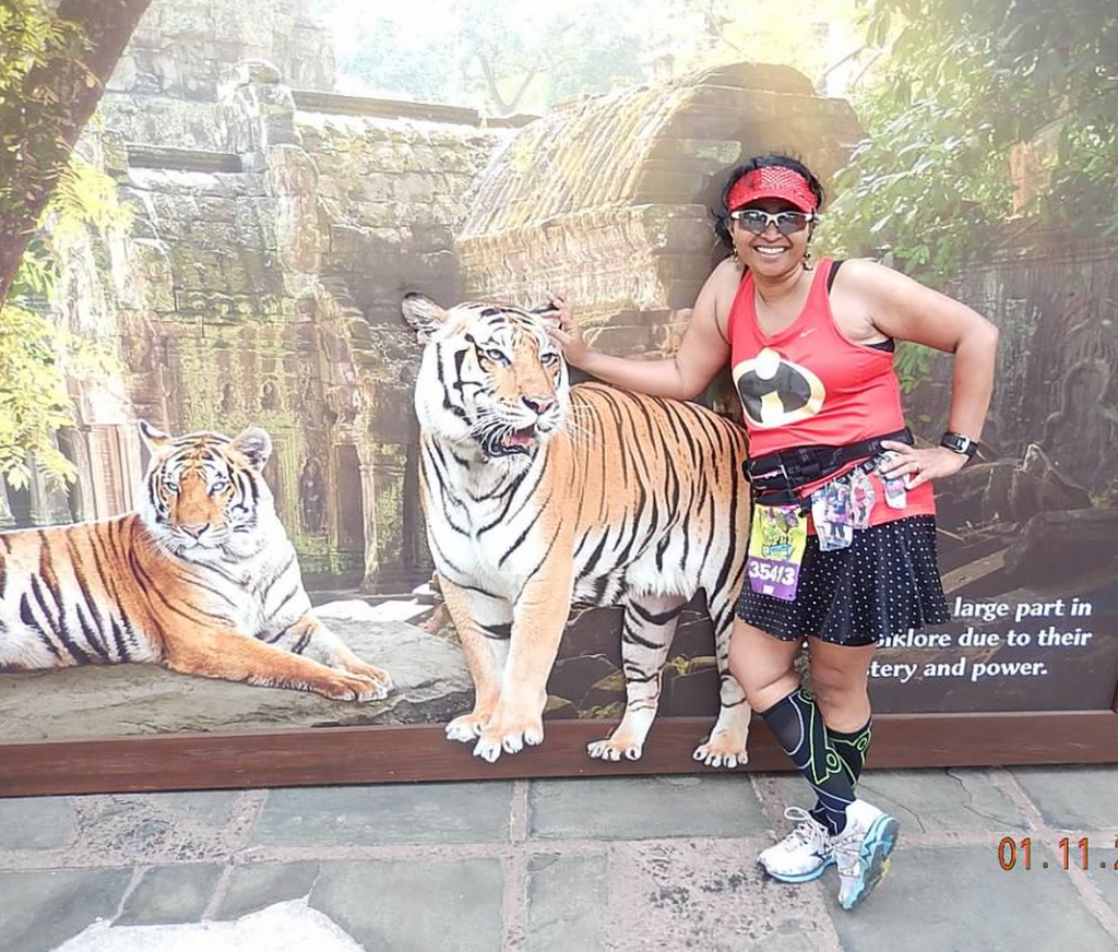 In which marathon do you get a chance to stop and pet a tiger?  (well ... to stop and pet a photo of a tiger)