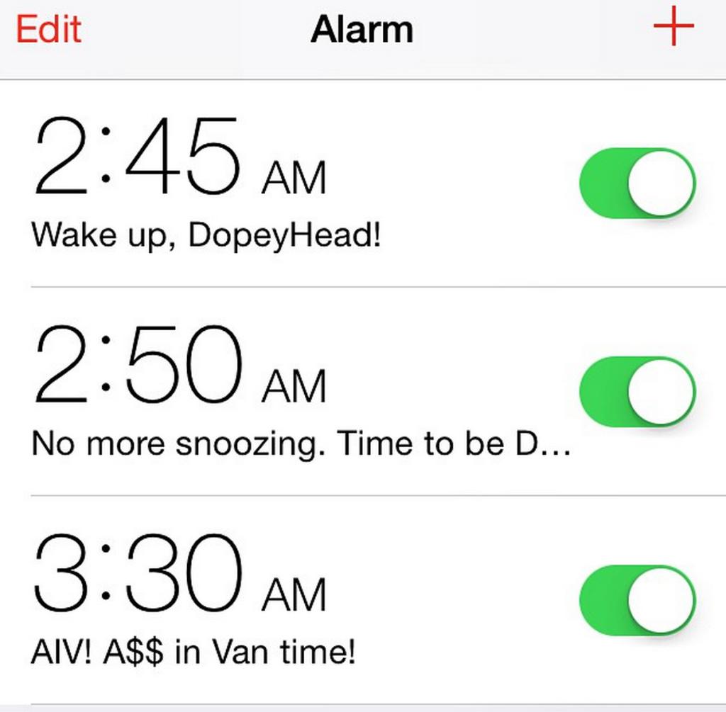 Dopey Challenge Alarm