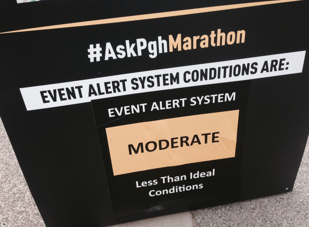 Pittsburg Half Marathon  Changed the alert on the day of - atleast it wasn't high!  Photo credit: BAMR